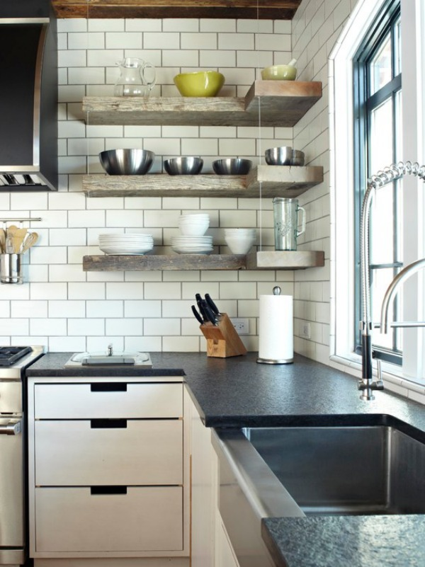 transitional-kitchen with corner shelf