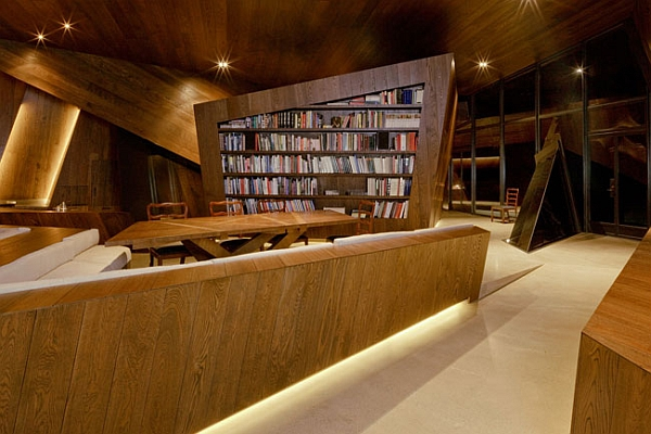 warm lighting enlivens the interior at night