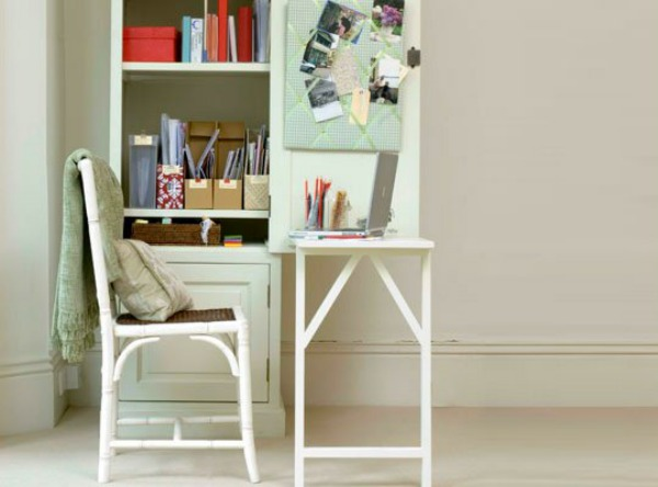 white fold down desk