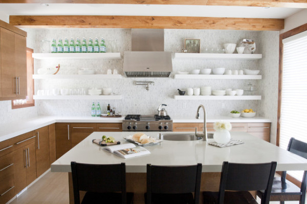 white modern kitchen floating shelves