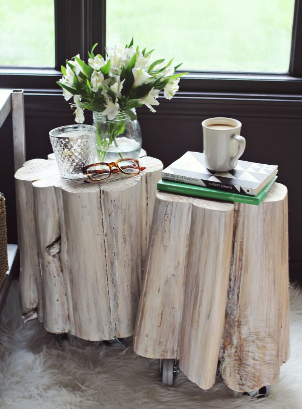 View In Gallery White Washed Tree Stump Tables Jpg