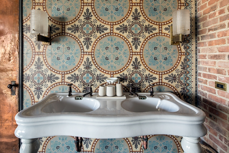 1930's floral patterned blue stone tiles from Belgium in the bathroom