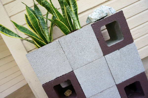 A DIY cinder block planter