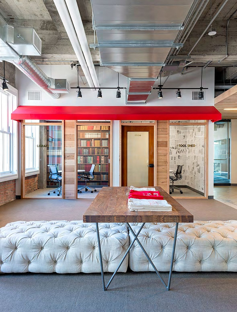 A combination of private and public spaces inside the Yelp headquarters