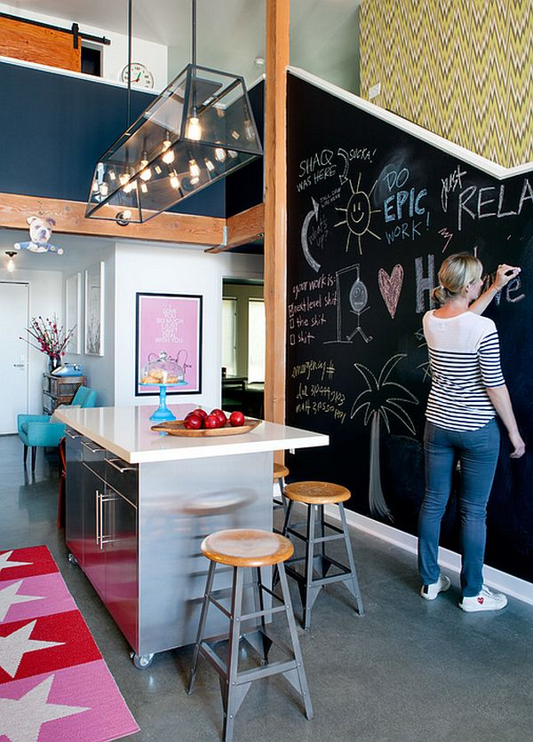 A fun chalkboard wall addition to the trendy contemporary kitchen