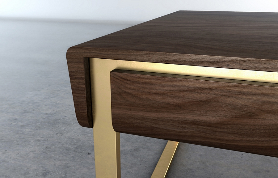 A hint of brass adds style to the walnut body of the coffee table