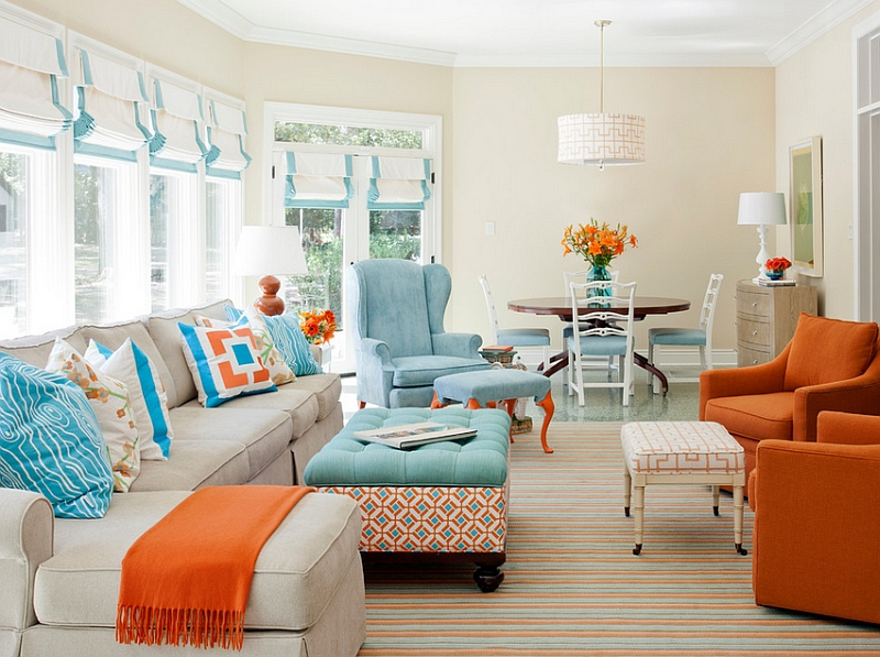 orange and blue bedroom. orange and navy color palette boy s
