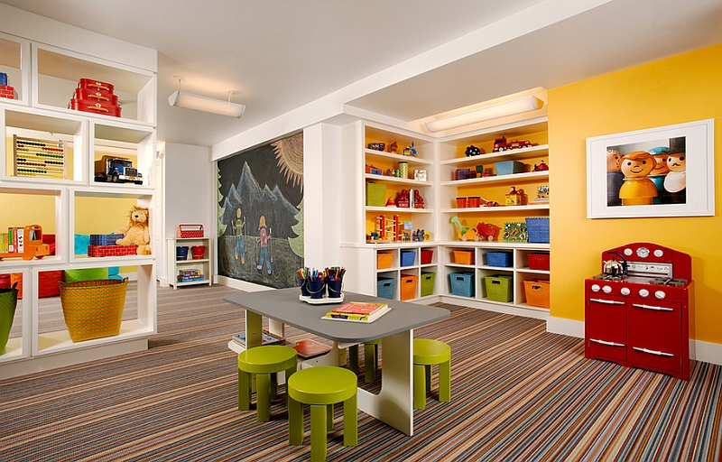 Basement Ideas For Kids Area. View in gallery A lovely carpet adds class to the space Basement Kids  Playroom Ideas And Design Tips