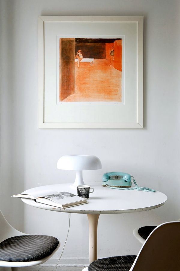 A lovely little home office niche with a midcentury modern vibe