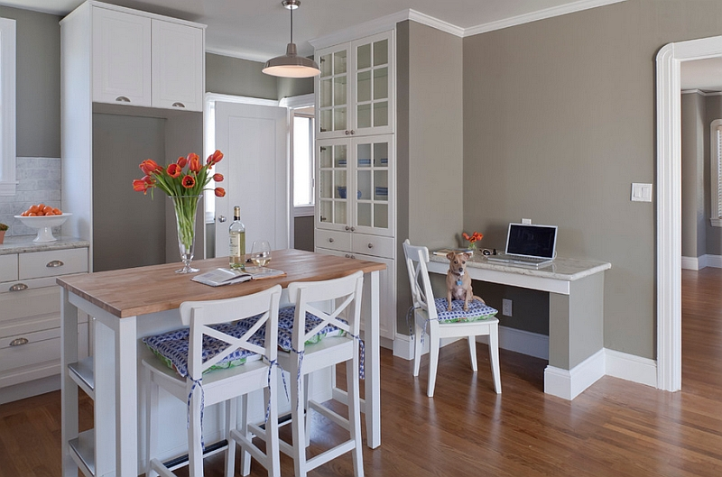 A neutral color scheme allows the rare colorful additions to shine through