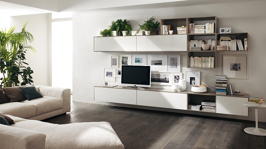 A simple change in the alignment of shelves alters the entire appeal of the wall unit