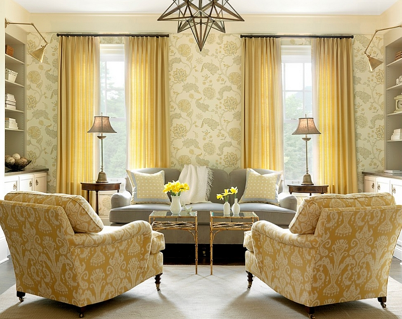 A stylish room where yellow takes over from gray!