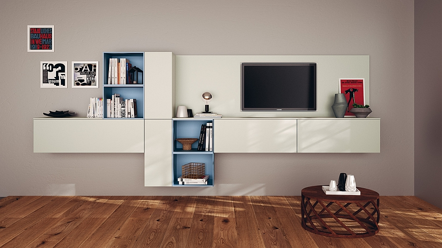 A touch of blue brings glam to the living room wall unit