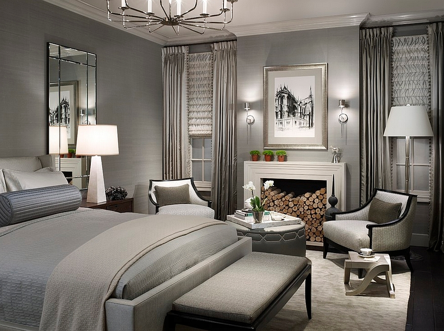 Amazing bedroom in gray uses lighting to induce a visual difference between light and dark shades