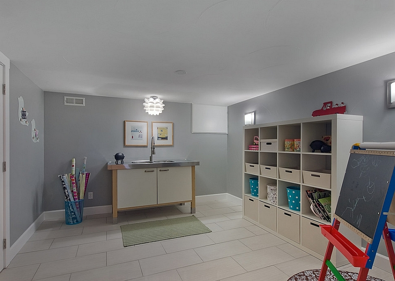 Artificial lighting takes over in this simple basement playroom