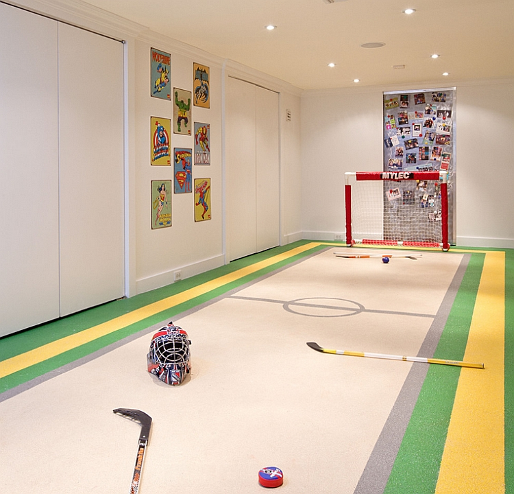 Basement playroom for an ice hockey fan