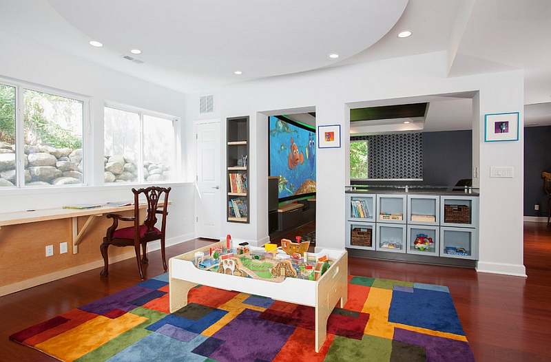 Basement playroom next to the home study and media room Transform Your Basement Into A Fun And Colorful Kids' Playroom