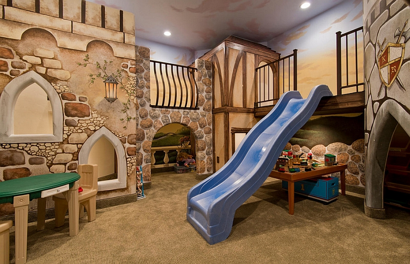 Basement playroom with a slide entry design