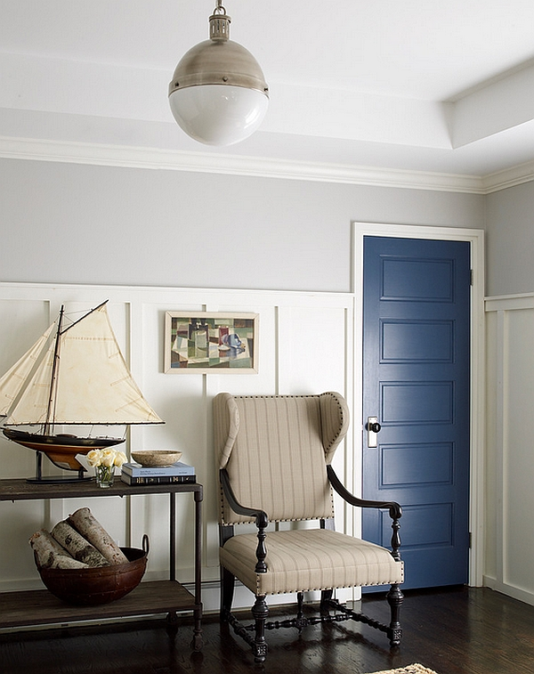 Beach style entry with nautical inspired decor and the Hicks pendant