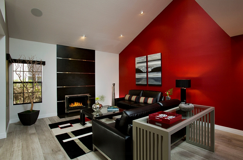 red, black and white interiors: living rooms, kitchens, bedrooms