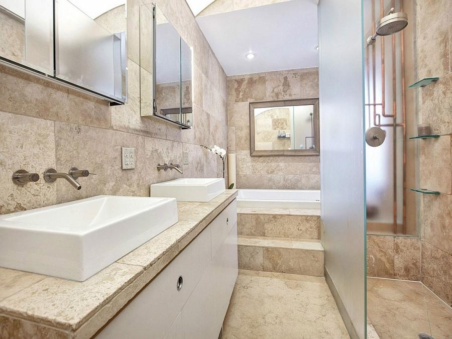 Beautiful bathroom exudes a more modern look