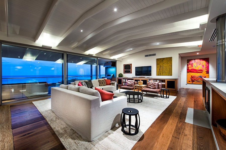 Beautiful beach house living room with grand ocean views