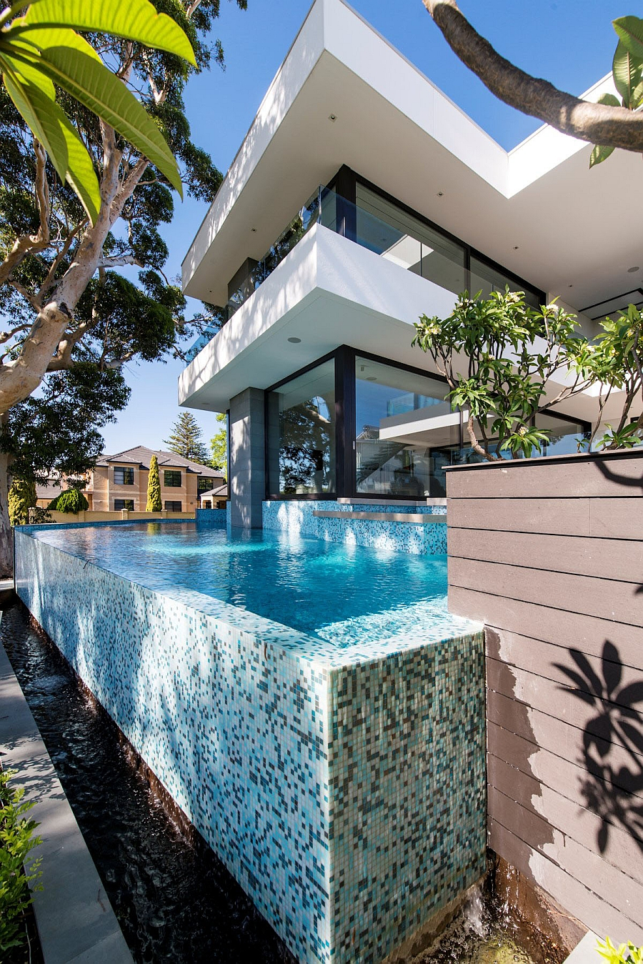 Beautiful infinity edge pool with riverside views