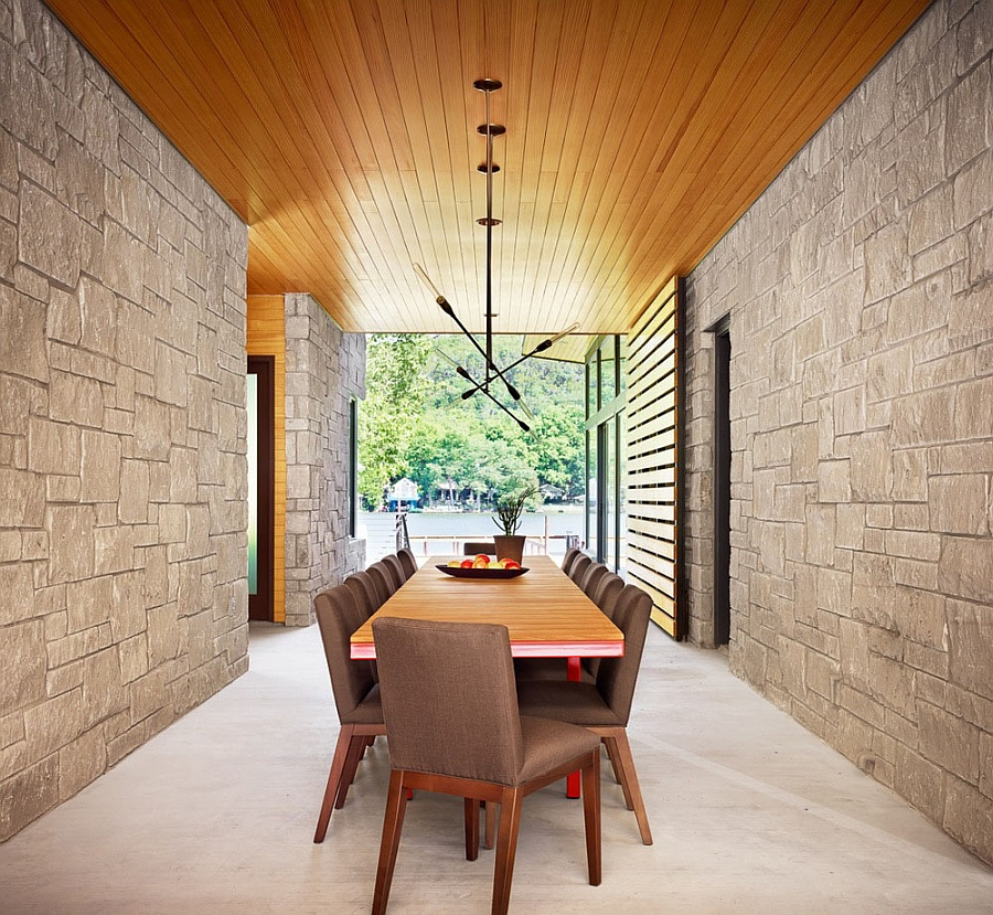 Beautiful wooden ceiling and walls combined with stone and glass