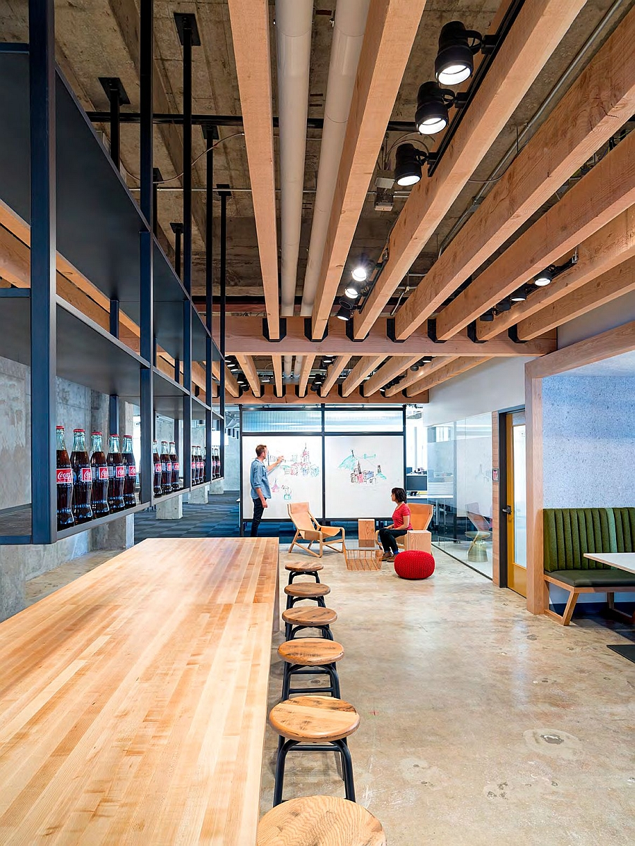 Beautiful wooden surfaces lend the office interiors inviting warmth