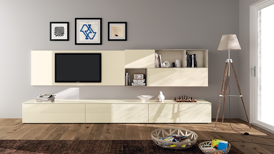 Beige gloss Laquered living area wall unit for the space conscious home