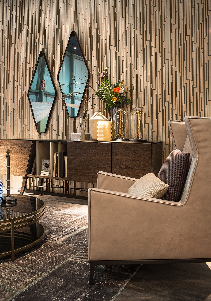 Beuatiful wallpaper offers the perfect backdrop for exclusive decor from Arketipo Firenze