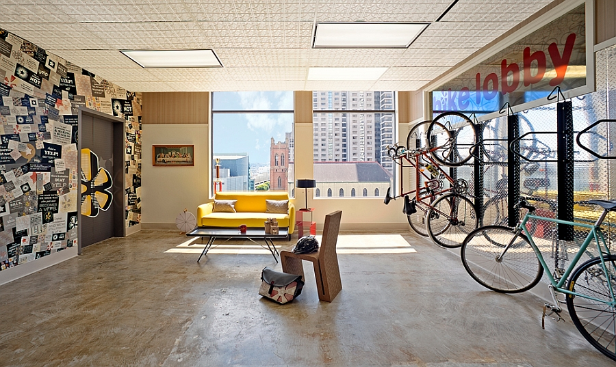 Bike storage inside the Yelp Headquarters for the eco-fiendly commuters