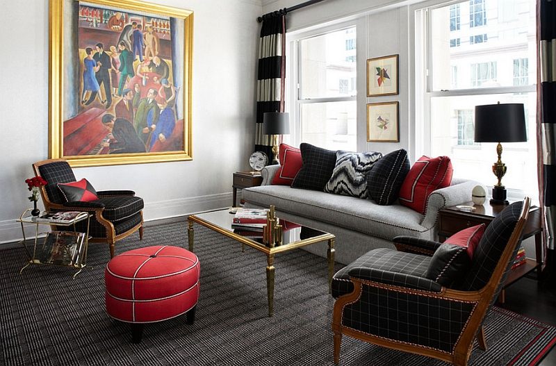 Black and red look a lot more trendy in living rooms when coupled with white
