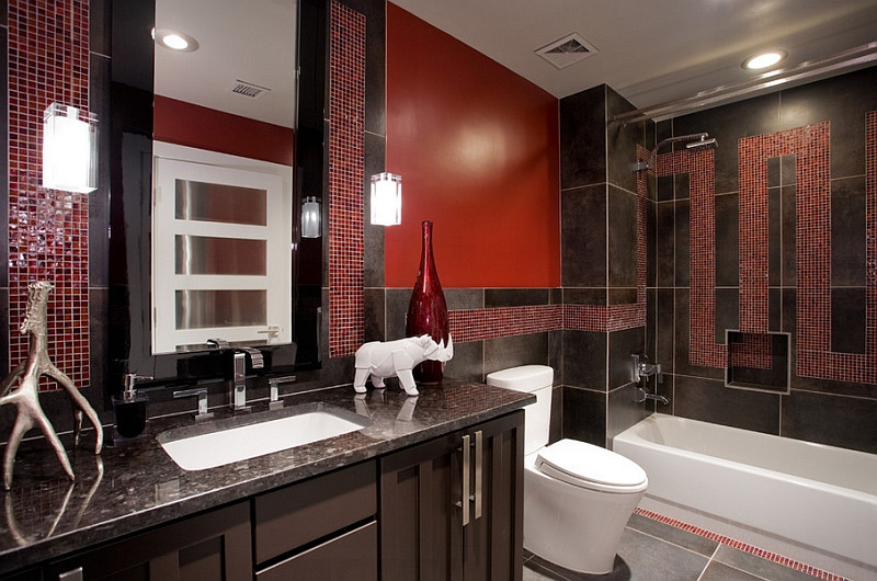 Black granite countertop and italian porcelain tiles for Red bathroom designs