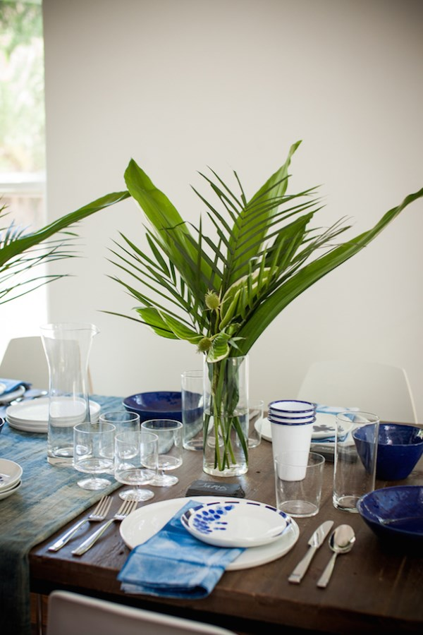 Breezy blue and white tabletop