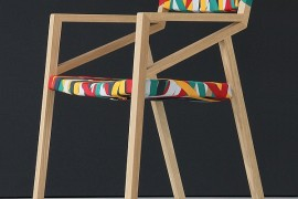 Trendy Minimalist Wood Chair Wrapped In Multicolored Suspender Magic!