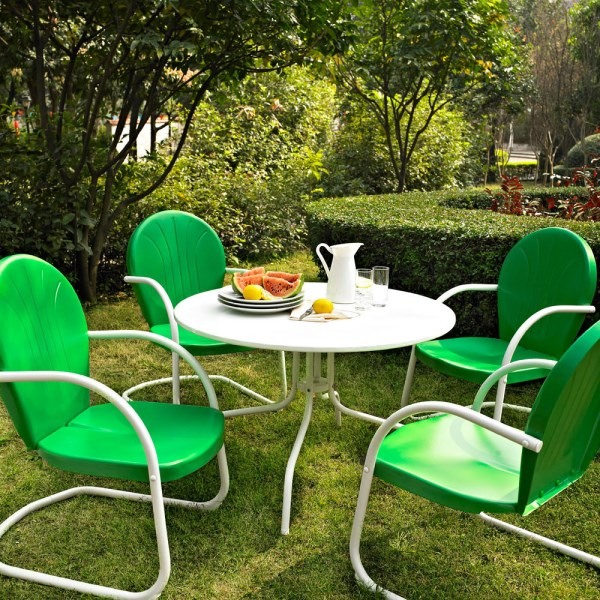 Bright green metal outdoor dining set