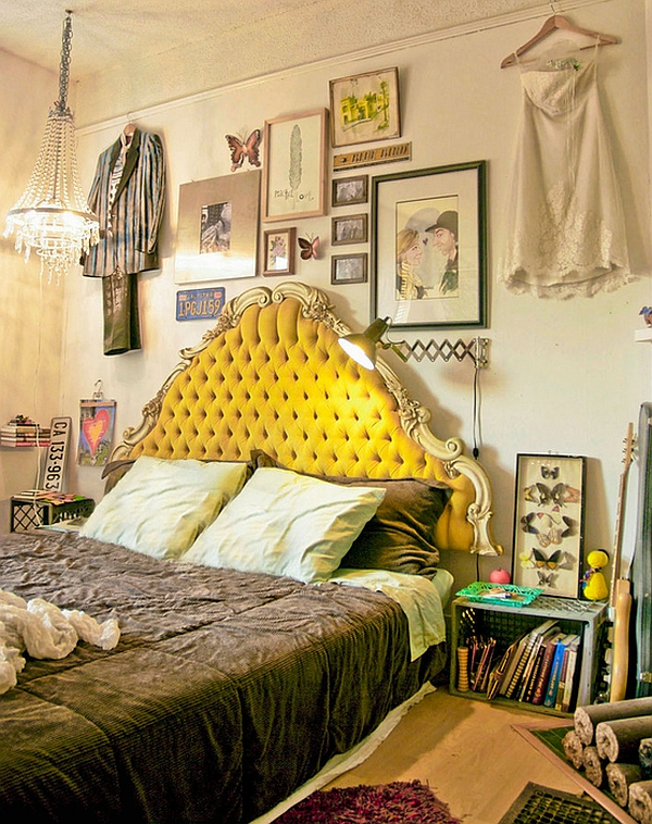 Bright yellow-green headboard stands out in this simple Bohemian style bedroom