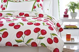 Cherry-print bedding