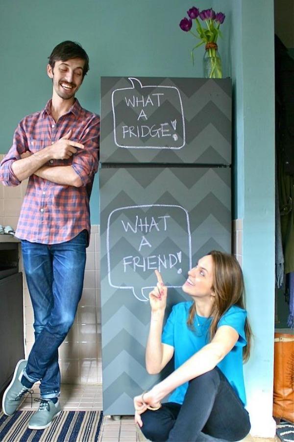 Chevron chalkboard fridge