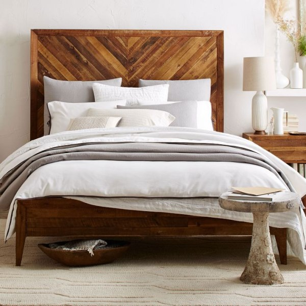 Chevron-pattern bed from West Elm