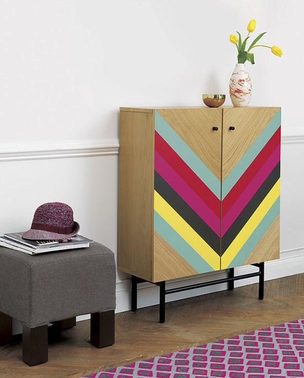 Chevron-pattern cabinet