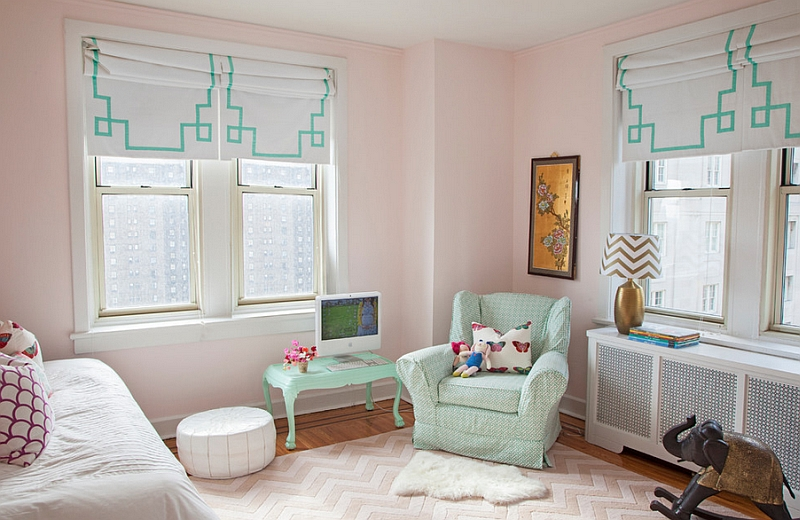 Chic girls' bedroom with roman shades that usher in playful patterns