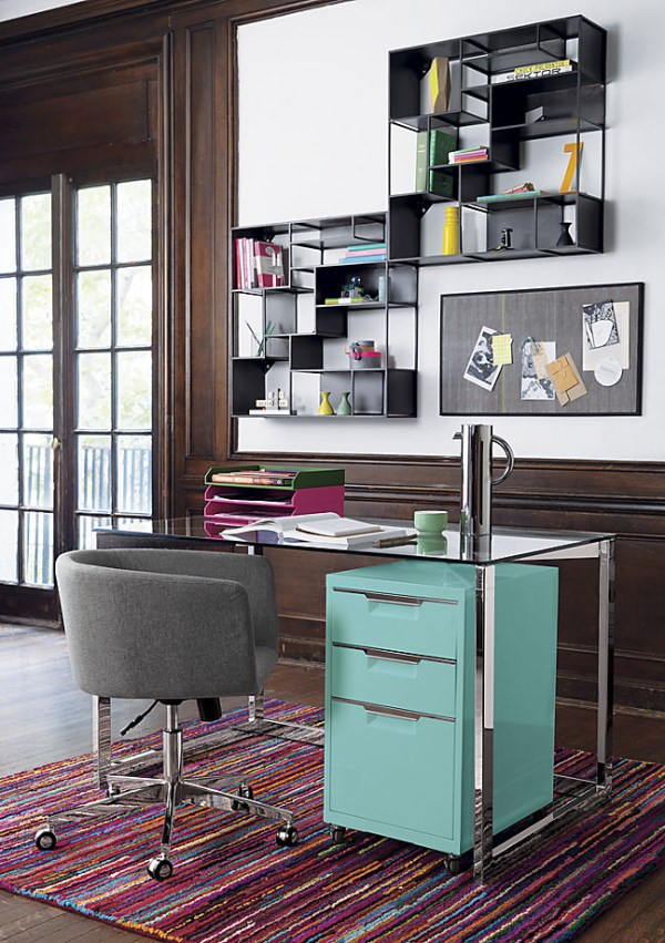 Chic, tidy work area featuring items from CB2