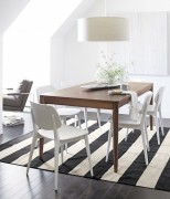 Classic black and white striped rug
