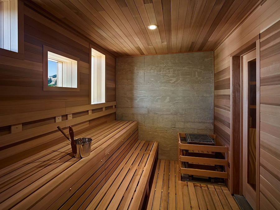 Classic sauna room at home combines comfort with lovely views