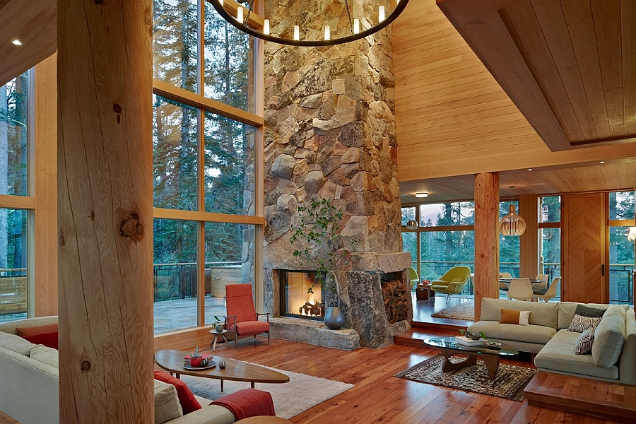 Classic stone fireplace at the heart of the living space seems perfect for a woodsy retreat