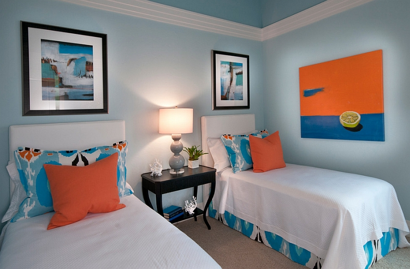 Classy contemporary bedroom in orange and blue