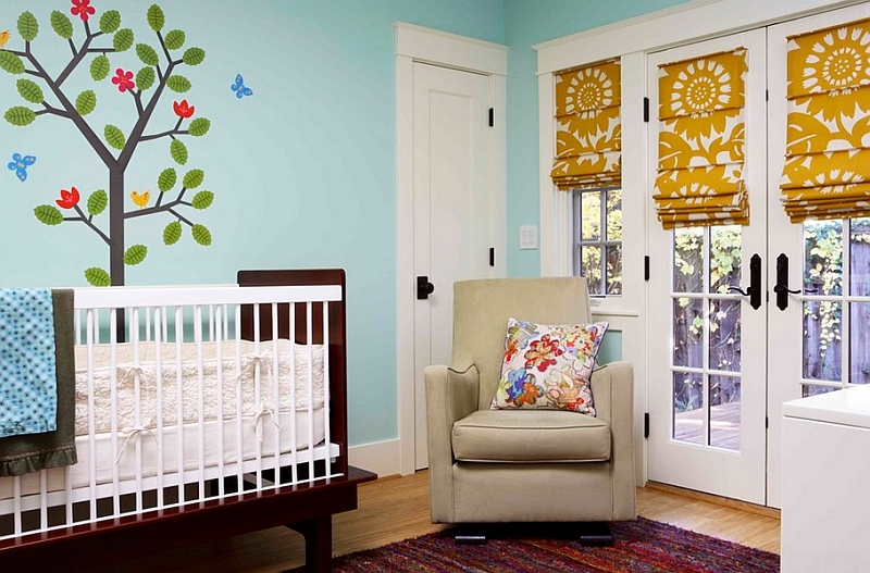 Colorful roman shades for the modern nursery