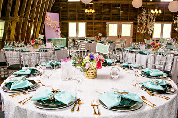 Colorful table setting with touches of gold and aqua
